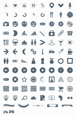 set vector icons signs symbols and pictograms EPS10