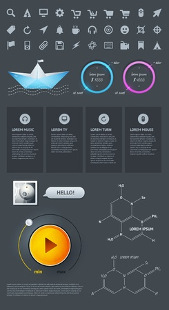 visualize: Elementi di Infographics con pulsanti e menu