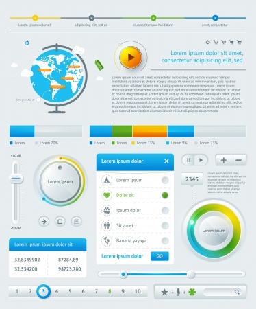 charts: Elements of Infographics with buttons and menus