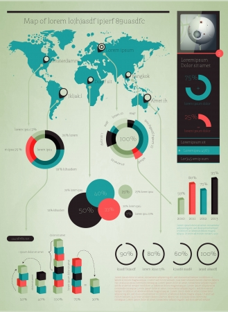 pie diagrams: Elements of Infographics with buttons and menus