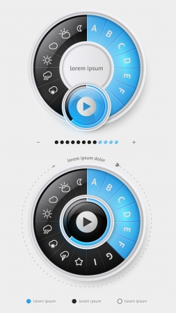 Elements of Infographics with buttons and menus  Illustration
