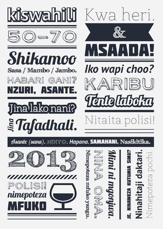 swahili: typography with elements of infographics and icons
