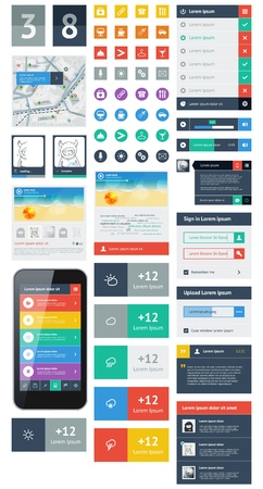 web page elements: UI is a set of beautiful components featuring the flat design trend Illustration