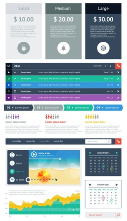 UI is a set of beautiful components featuring the flat design trend Stock Vector - 18756914