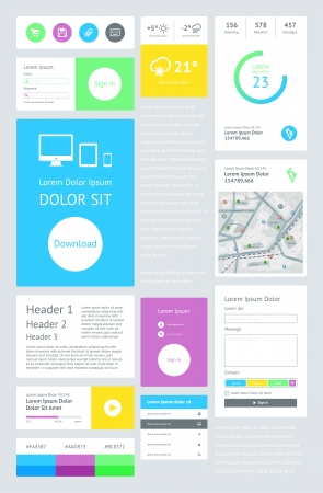 UI is a set components featuring the flat design Stock Vector - 21570926