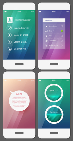Mobile user interface template - Stock Vector Vector