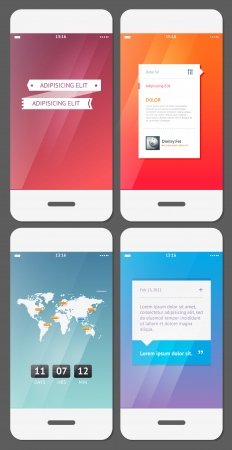 call log: Mobile user interface template - Stock Vector