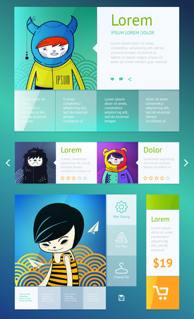 UI is a set of components featuring the flat design trend Vector