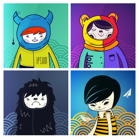 suomi: modern funny characters hipsters