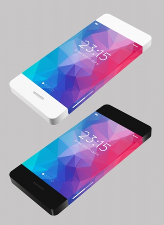 ui design: vector template phone in flat style