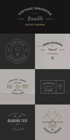 34 Trendy Retro Vintage Insignias Bundle Vector