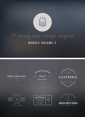 old style lettering: 39 Trendy Retro Vintage Insignias Bundle Volume 2