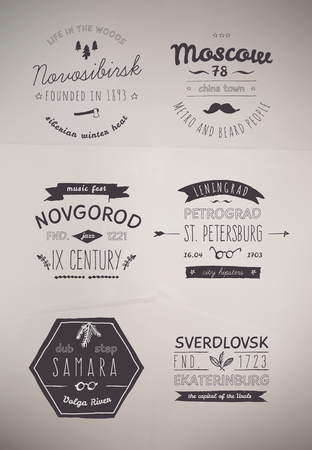 6 Hand Drawn Style Logos  Trendy Retro Vintage Insignias Bundle Volume 2 Vector