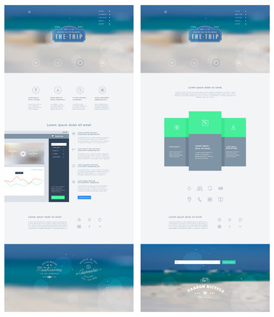 Landing page in flat style with features icons and sign up form  Vector template  Vector