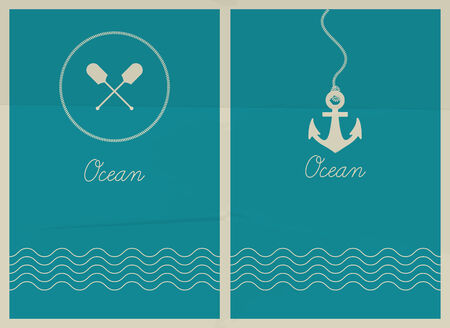 water anchor: Vector ocean  Hipster web media backdrop  Badge label over sea background  Editable  Unfocused  Ocean
