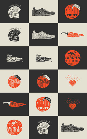 old style lettering: Trendy Retro Vintage Insignias Bundle