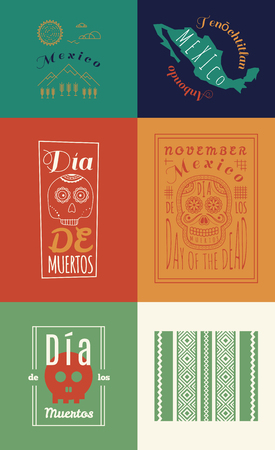 the throughout: Mexican set Insignias | Day of the Dead (Spanish: Dia de Muertos) is a Mexican holiday observed throughout Mexico and around the world in other cultures.