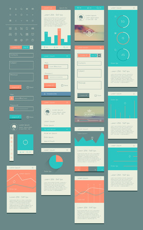 flat UI kit for web and mobile, UI design, page website design template. All in one set for website design that includes one page website templates, and flat design concept illustrations. Vector