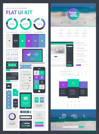 weather map: flat UI kit for web and mobile, UI design, page website design template. All in one set for website design that includes one page website templates, and flat design concept illustrations.