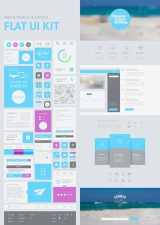 app banner: flat UI kit for web and mobile, UI design, page website design template. All in one set for website design that includes one page website templates, and flat design concept illustrations.