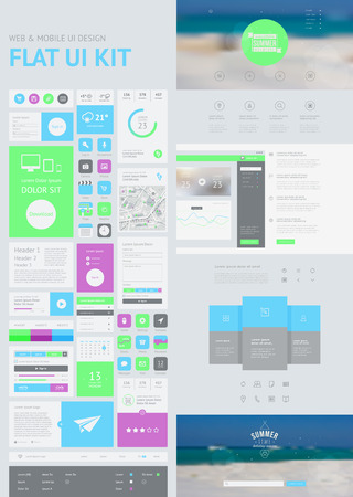 kit design: flat UI kit for web and mobile, UI design, page website design template. All in one set for website design that includes one page website templates, and flat design concept illustrations.