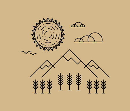 norm: landscape in flat style. Hipster, norm core, tattoo.