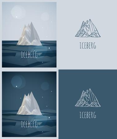 vector low-poly ijsberg. poster en logo-ontwerp. hipster stile