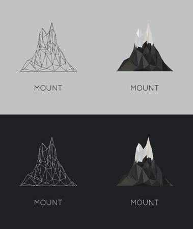 stile: vector low-poly mount. poster and design. flat hipster stile
