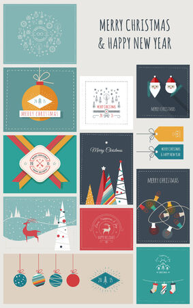 card symbols: New Year and Christmas Greeting Cards and Banners Illustration