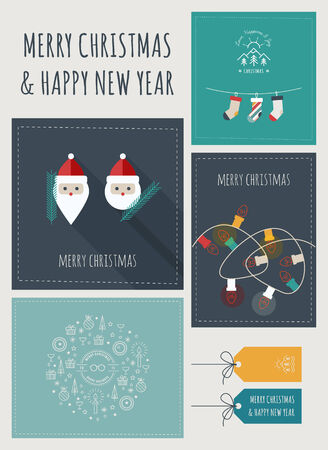 message card: New Year and Christmas Greeting Cards and Banners Illustration