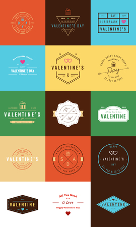 handcrafted: Happy Valentines Day. Trendy Retro Vintage Insignias Illustration