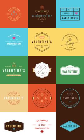 insignias: Happy Valentines Day. Trendy Retro Vintage Insignias Illustration
