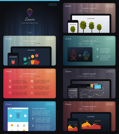 web marketing: Landing Page for Web Marketing Illustration