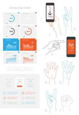 interface elements: vector elements of infographics and user interface