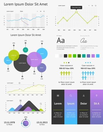 kit design: vector elements of infographics and user interface