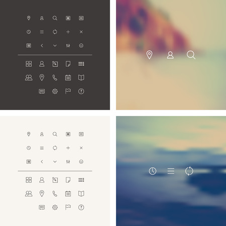 Vector Icons Set in Flat Style.  Cleanse Icons Set on blurred background.