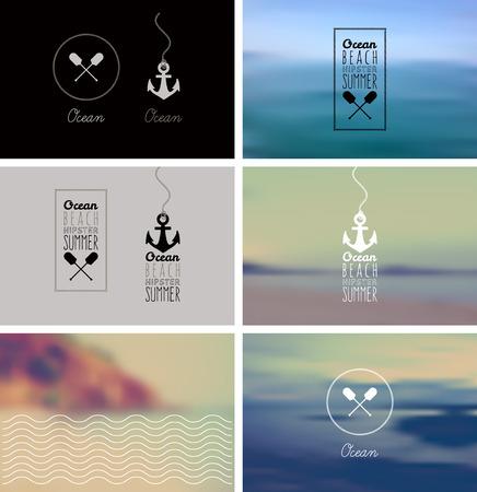 vacaciones playa: Vintage Logo & Kit Insignia Vectores