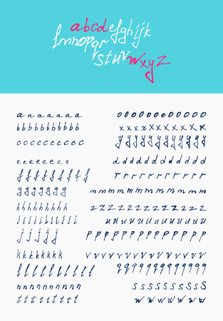 inc: vector hand lettering Calligraphic alphabet Illustration
