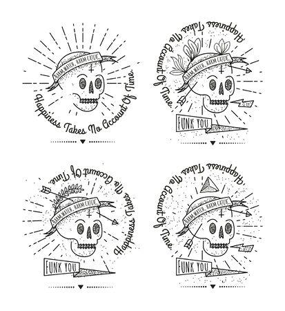 Moda retro vintage - Insignias Insignias conjunto de vectores con el cráneo. Ilustración de vector