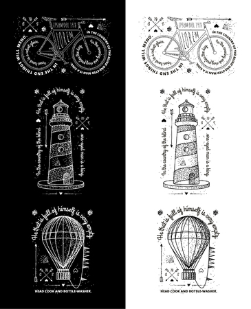 t shirt print: Trendy Retro Vintage Insignias - Badges vector set with the lighthouse.