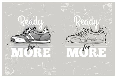 sneakers: Hipster graffiti sneakers on abstract triangle background. Hand-drawn hipster poster.  Illustration