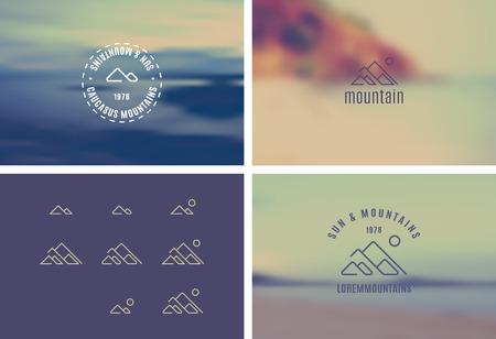 montagna: Trendy retro annata insegne con uno sfondo sfocato