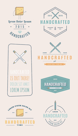 handcrafted: Trendy Retro Vintage Insignias. handcrafted.
