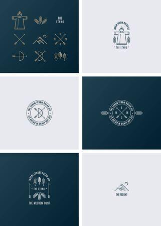 insignias: Moda Retro Insignias vintage. El estilo étnico. Vectores