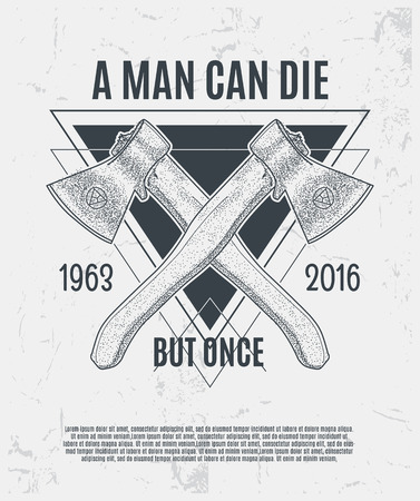 axes: Two dotwork axes with modern street style attributes. Grunge print template. Vector art.
