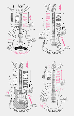 Trendy Retro Vintage Insignias with Guitar. Vector art.