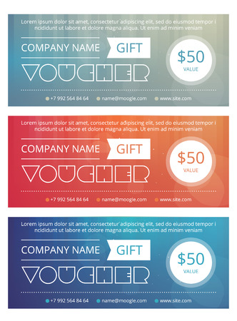 restaurant bill: Gift voucher template with clean and modern pattern Illustration