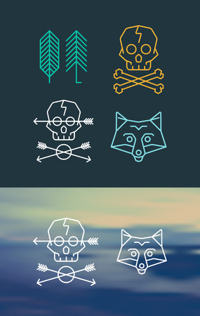 retro styled: Set of cool templates on background. Retro styled trendy emblems. Illustration