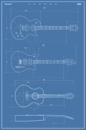 fingerboard: Vector Blueprint with Electric and Acoustic Guitar Illustration