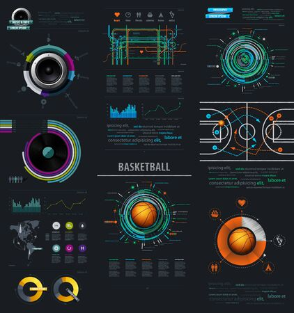 audio plug: Infographic Music Elements with Vinyl and Speaker. infographics items from the map of America. infographics element with sports basketball Ball